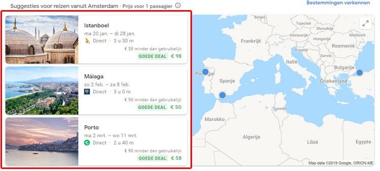 Deals in Google Flights