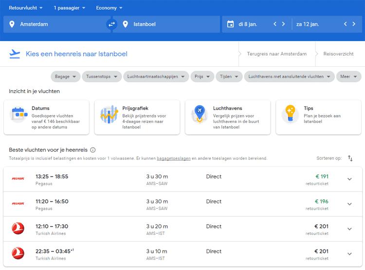 Google Flights weergave van zoekresultaten