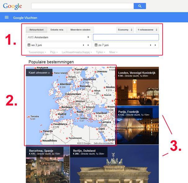Vliegtickets vergelijken met Google Flights