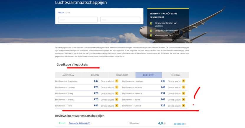 eDreams overzicht met goedkope vluchten